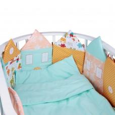 Комплект в кроватку ДОМИКИ, Оранжевый